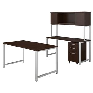 Bush Business Furniture 400 Series 60W x 30D Table Desk with Credenza, Hutch and 3 Drawer Mobile File Cabinet