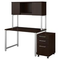 Bush Business Furniture 400 Series 48W x 30D Table Desk with Hutch and 3 Drawer Mobile File Cabinet