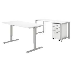 Bush Business Furniture 400 Series 60W x 30D Height Adjustable Standing Desk with Credenza and Storage