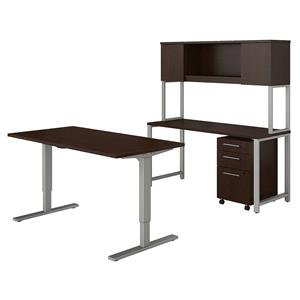 Bush Business Furniture 400 Series 60W x 30D Height Adjustable Standing Desk with Credenza, Hutch and Storage